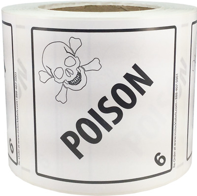 Hazard Class 6 D.O.T. Poison Labels 4x4 Inch Square 500 Adhesive Labels