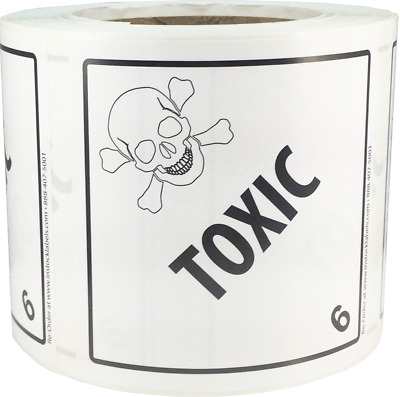 Hazard Class 6 D.O.T. Toxic Labels 4x4 Inch Square 500 Adhesive Labels