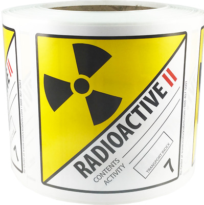 Hazard Class 7 D.O.T. Radioactive II Labels 4x4 Inch Square 500 Adhesive Labels