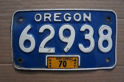 1968 to 1970 Oregon MOTORCYCLE License Plate - Nice Original