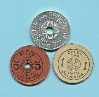 """Oklahoma - Three Beautiful Historical """"for Old Age Assistance"""" Tax Tokens"""