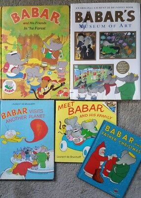 Lot of 5 BABAR Elephant VINTAGE BOOKS-FATHER CHRISTMAS,ART MUSEUM,PLANET, FOREST