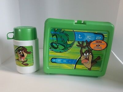 Looney Tunes Tazmanian Devil Plastic Lunch Box, AND THERMOS Warner Bros 2001