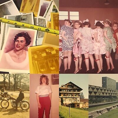#12 100 VTG SNAPSHOTS Photos OLD Color PHOTOGRAPHS 1950-70s Lot WHITE BORDERS