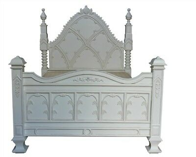 6' Super King Size White Carved Ecclesiastical Gothic Paneled Bed Mahogany