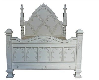 5' King Size White Carved Ecclesiastical Gothic Paneled Bed Mahogany