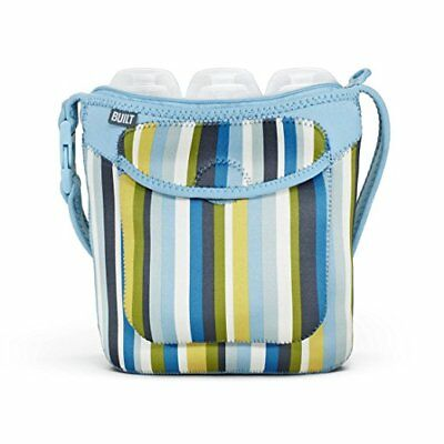 BUILT Bottle Buddy Three Baby Bottle carrier Tote Blue with strips Neoprene