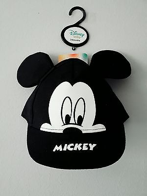 MICKEY MOUSE BABY BASEBALL CAP 3 / 6 Months WITH EARS BLACK OFFICIAL DISNEY BABY
