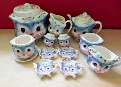 "Lefton ""miss Priss"" Blue Kitty 12 Pieces - Take A Look!!"