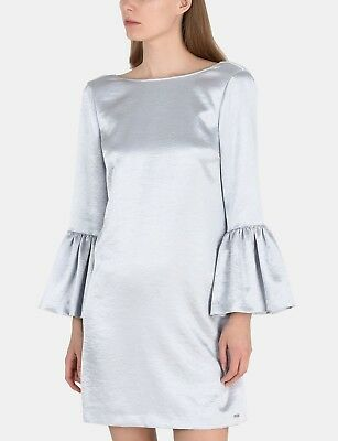 A/X Armani Exchange NWT 10 Metallic Silver Mini Dress Bell Sleeves $130 NEW
