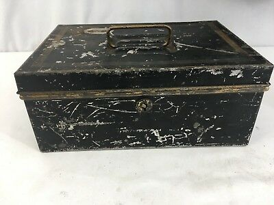 Antique Black Gold Metal Cash Box