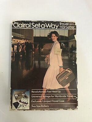 Vintage Clairol Set-A-Way Travel Hairsetter Hot Rollers 1979 2xtraRollers TESTED