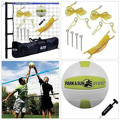 Volleyball Net System Portable Blue Outdoor Sports Tournament Set Carrying Bag