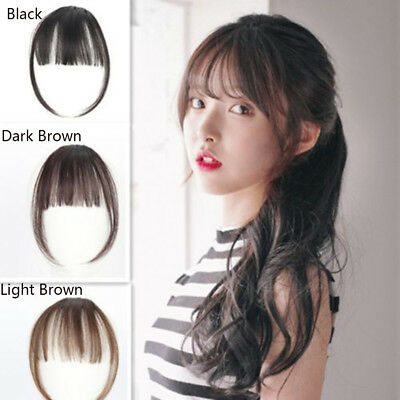 Mini Thin Neat Air Bangs Hair Extension Clip Natural Fringe Front Hairpiece--