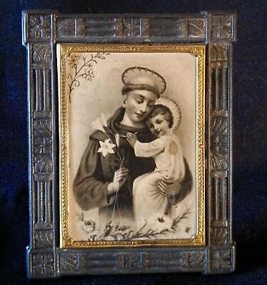 "Antique GERMANY-Stamped Tin Frame with decorative Brass Bezel-3"" CHRISTIAN ICON"