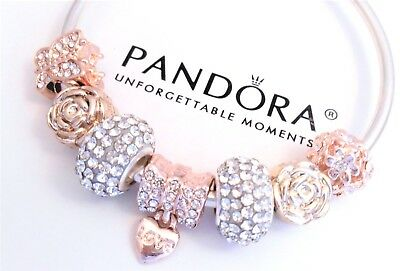 Authentic Pandora Silver Bangle Bracelet With Love Rose Gold European Charms...