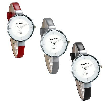 Women's Charm Simple Slim Strap Round Rhinestone Dial Quartz Analog Wrist Watch