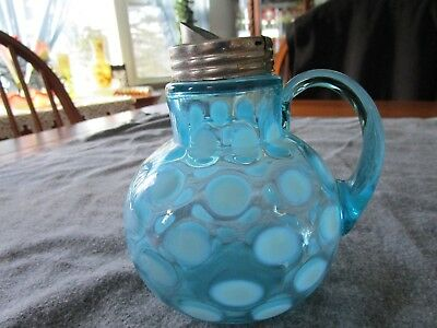 Northwood Blue Opalescent Coin Spot Syrup Pitcher