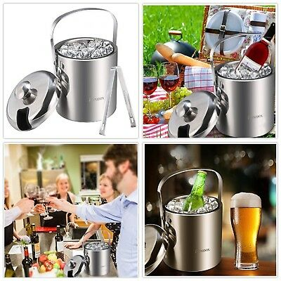Ice Bucket with Tongs and Lids Double Wall Stainless Steel Home Outdoor, Silver