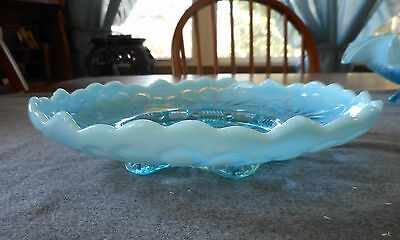 "Antique Jefferson Glass Blue Opalescent Tokyo 9"" Footed Bowl"