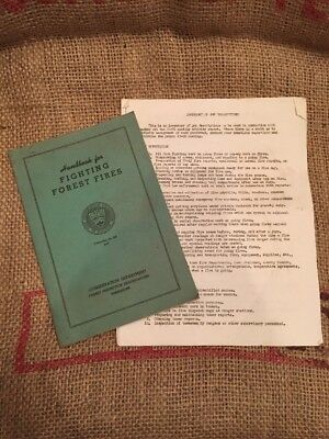 Vintage US Forest Service Fire Fighting Manual Handbook WI Tomahawk Typed Instr