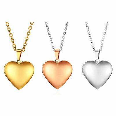 Mens Womens Polished Stainless Steel Photo Heart Pendant Necklace Free Engraving