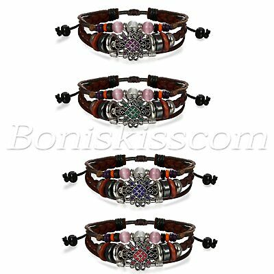 Womens Retro Tribal Flower Beaded Charms Multi-layer Leather Bracelet Adjustable