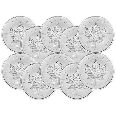 Lot of 10 x 1 oz 2015 Canadian Maple Leaf Year of the Sheep Privy Silver Coin