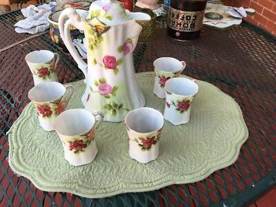 Vintage Hand Painted  Chocolate Pot w/ 5 Cups Blossoms PINK w/ ROSES Japan