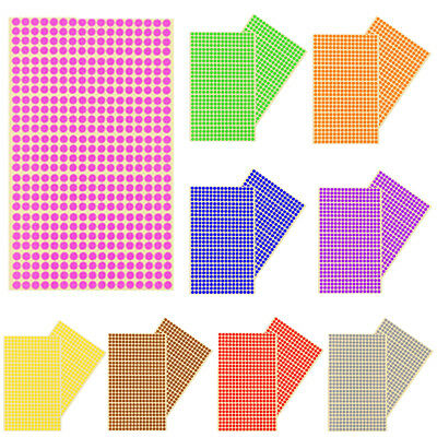 ANY SIZE Coloured Dot Stickers Round Spot Circles Dots Paper Labels *2 SHEETS
