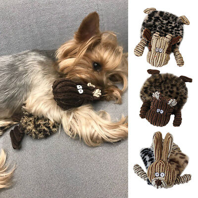 Unstuffed Plush Dog Puppy Pet Squeaker Toys Squeaky Funny Sound Animal Chew Toy