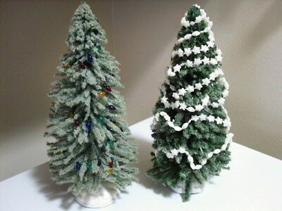 """2 Lemax Decorated Lighter Green Village Christmas Full Pine Trees 9"""" Each"""