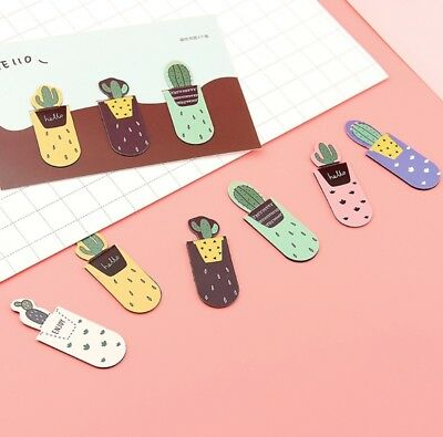 Fresh Cute Cactus Magnetic Bookmarks Stationery School Office Supply 3Pcs /Set