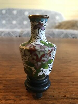 Vintage Cloisonné Miniature Vase With Wooden Stand