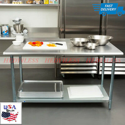 """NEW Commercial 30"""" x 60"""" Stainless Steel Work Prep Table With Backsplash Kitchen"""