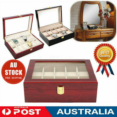 10/20 Grid Glass Wooden Watch Jewelry Display Case Collection Storage Holder Box