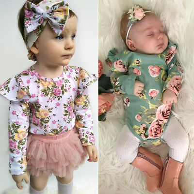 Newborn Kid Baby Girl Floral Long Sleeve Romper Outfit Bodysuit Playsuit Clothes