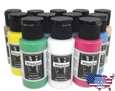 Badger Air-Brush Company Minitaire 12-Color Paint Starter Set, New, Free Shippin