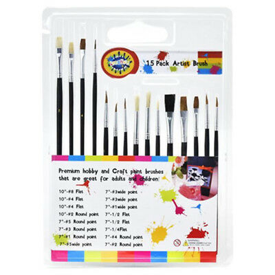 15pcs ARTIST HOBBY CRAFT PAINT BRUSHES BRUSH SET NEW 15pc KIDS PAINT BRUSH SET