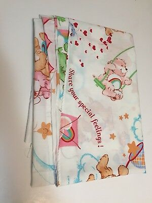 Vintage 1982 CARE BEARS Twin Flat Sheet 80s Fabric Material Kids Cartoon