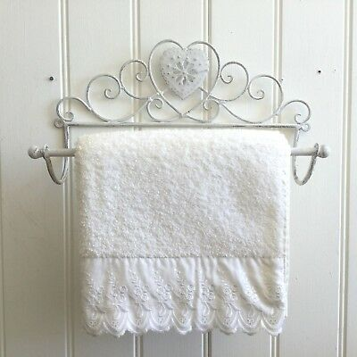 Small Shabby Chic Heart Antique White Wall Mounted Towel Rail Vintage Style