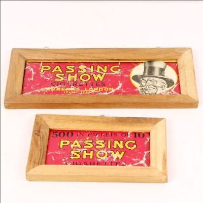 Vintage Framed Passing Show Cork Tipped Cigarette Ad Litho Tin Sign Boards 6766