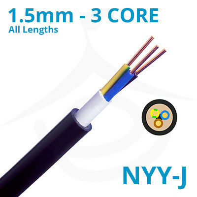 1.5mm PVC Outdoor Hi Tuff Cable NYY-J 3 Core Pond Lighting Wire Outside Power