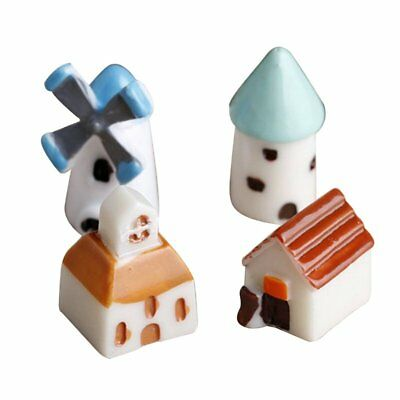 4PCS/set Mini Resin Church Castle Windmill Cottage Landscape Decoration H9Z1