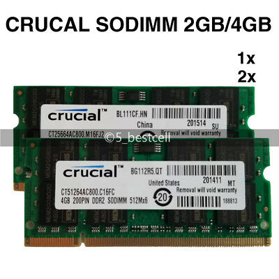 Crucial 2GB/4GB/8GB DDR2 PC2-6400 800 MHz 200pin Laptop SODIMM Memory Ram LOT