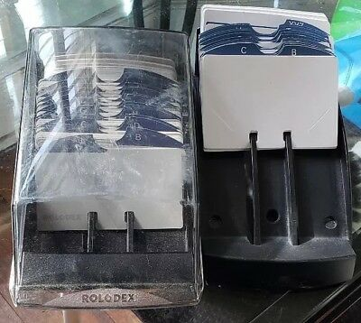 Rolodex Covered Card File VIP 24C  PLUS Rolodex R-470. Tons of blank cards CLEAN