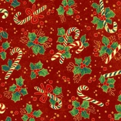 Holiday Candy Cane Red, Cotton Fabric BTY, a Fabri Quilt Design