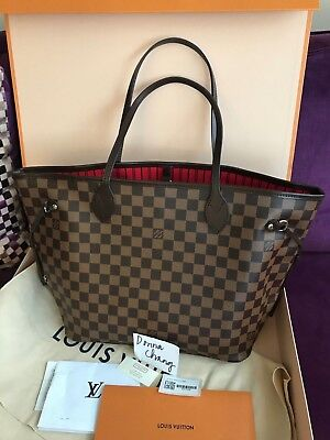 80150ce6470c Authentic Brand New 2018 Louis Vuitton Damier Ebene Neverfull MM Red Bag