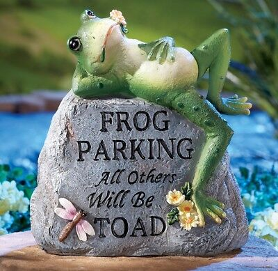 Toad Frog Parking Dragonfly Welcome Yard Statue Garden Stone Home Figurine Decor