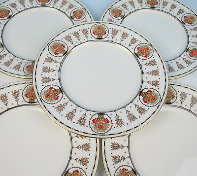 Set 8 Antique Minton Art Deco Enameled Porcelain Dinner Plate Raised Enamel Gold